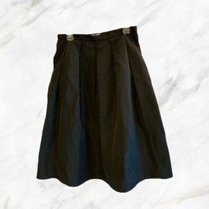 Lord & Taylor | Silky Black Puffy Midi Skirt